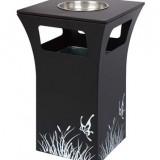 雪中花黑色烤漆垃圾桶