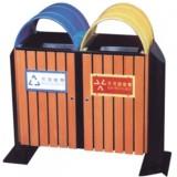 圆盖式钢木分类垃圾箱
