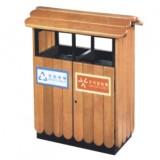 公园景区户外屋檐式钢木分类垃圾箱