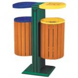 双桶钢木分类垃圾箱