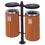 小区双桶钢木分类垃圾箱