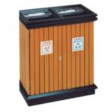 小区物业双筒分类钢木垃圾箱