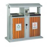 柞木钢木分类垃圾箱