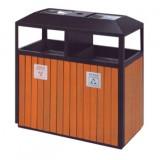 柚木钢木分类垃圾箱