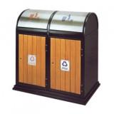 摇盖钢木分类垃圾箱