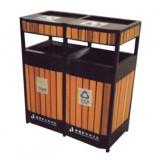 双联式钢木分类垃圾箱