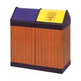 户外推盖钢木分类垃圾箱