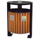 户外立式钢木分类垃圾箱