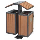园林屋形钢木垃圾箱