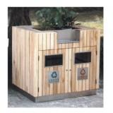 园林木制垃圾桶带花盆