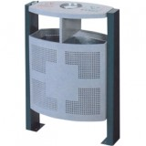 户外单桶冲孔钢制垃圾桶