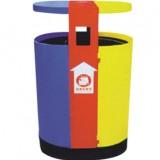 单桶三色分类钢制垃圾桶