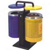 双色分类钢制垃圾桶