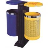 单脚双桶绿化钢制垃圾桶