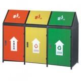 屋形三分类钢制垃圾箱