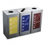 方形不锈钢三分类回收桶
