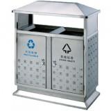 环保双筒不锈钢户外街道分类垃圾桶