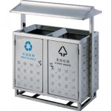 不锈钢户外带脚架分类垃圾桶