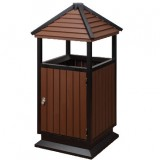 别墅古塔式钢木垃圾桶