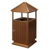 中式古塔形钢木垃圾桶