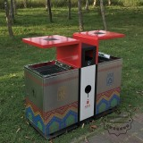 苏州高档UV打印户外分类不锈钢垃圾桶案例