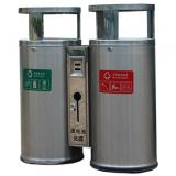 圆柱形户外双分类不锈钢垃圾桶
