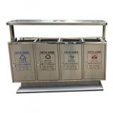 市政户外四分类不锈钢垃圾箱