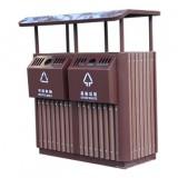 景区进口樟木分类钢木垃圾桶