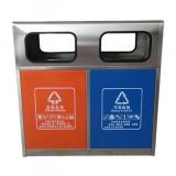 户外城市街道双分类不锈钢垃圾箱