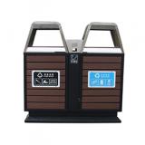 户外防腐木双分类钢木垃圾箱