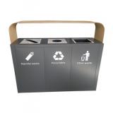 高档大号三分类不锈钢垃圾桶
