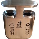 小区物业创意双分类不锈钢垃圾箱