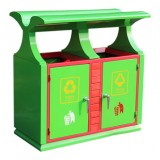 户外园林双分类钢制垃圾箱