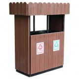 环保塑木花箱钢木分类垃圾桶