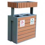 公园绿化花箱钢木分类垃圾桶