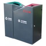 商场直投口双分类钢制垃圾桶