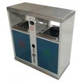 喷塑户外双分类钢板垃圾箱