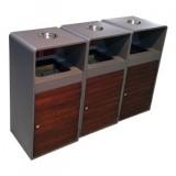 户外组合式钢木分类垃圾桶
