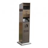 方形立式不锈钢烟灰柱垃圾桶