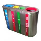 室内立式四分类不锈钢垃圾桶