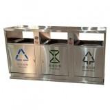 户外方形三分类不锈钢垃圾箱