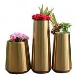 室内高档拉丝钛金不锈钢花盆组合