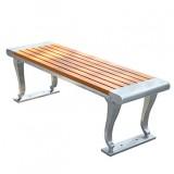 创意不锈钢防腐木休闲椅坐凳