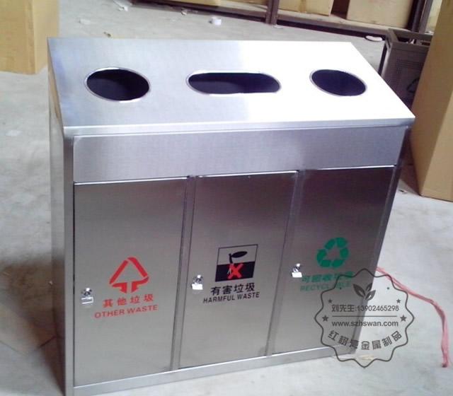 不锈钢三分类环保回收箱图片001