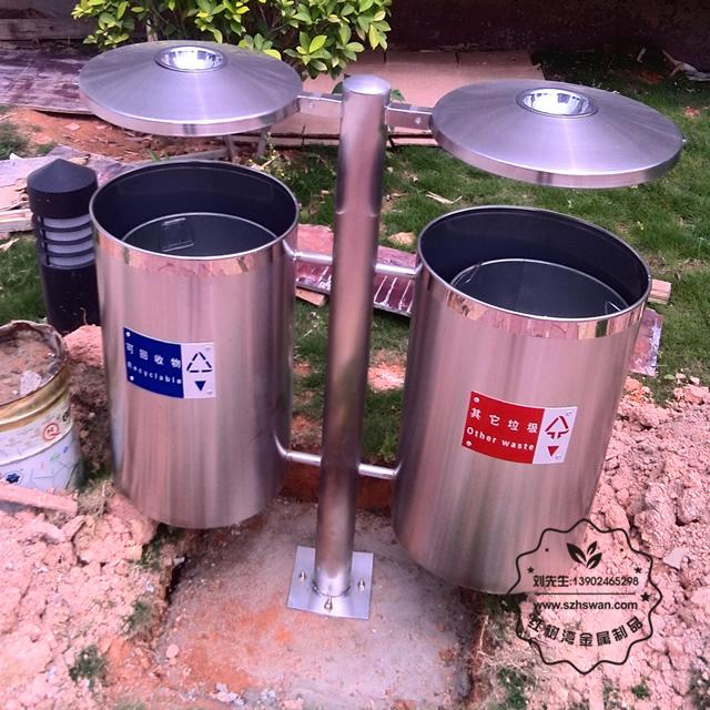 户外不锈钢分类垃圾桶图片001