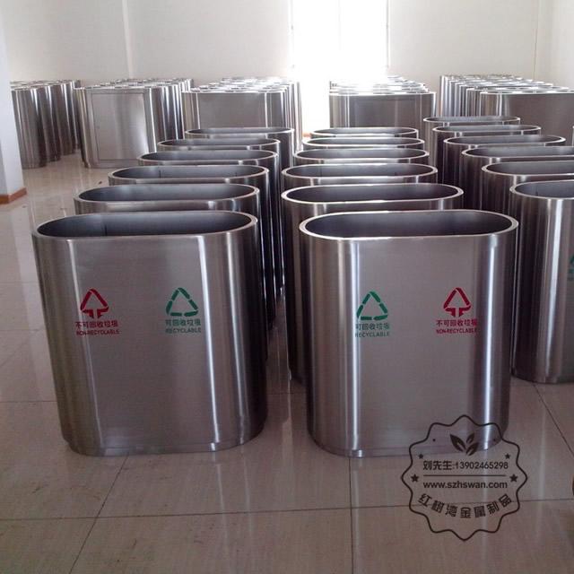 室内不锈钢三分类垃圾桶图片002