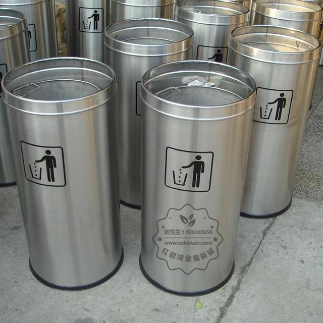 不锈钢圆形斜口垃圾筒图片002