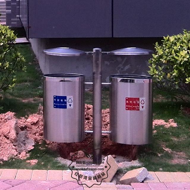 户外不锈钢分类垃圾桶图片002