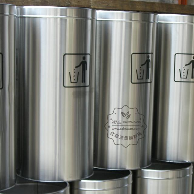 不锈钢圆形斜口垃圾筒图片003