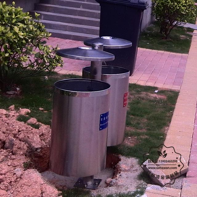 户外不锈钢分类垃圾桶图片003